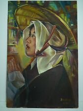 Vtg 1970 Oil Painting, Signed Davidka, South American Woman in Prayer, 49 x 32cm