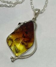 """925 Sterling Silver Giant Natural Amber Pear Shape Faceted Pendant Necklace 19"""""""