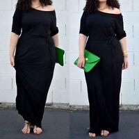 Women Ladies Vintage BLACK Short Sleeve Long Maxi Summer Shirt Dresses Plus Size