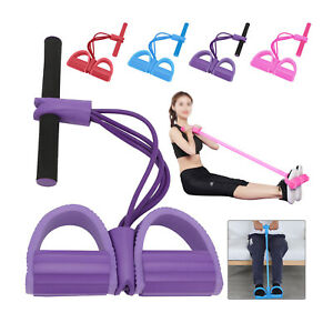 Fitness Tension Rope Foot Pedal Exercise Pull Resistance Bands Trainer UK