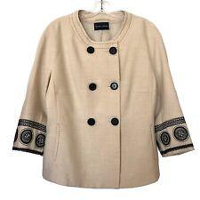 RENA LANGE Women's Crew Neck Double Breasted Blazer Jacket In Tan/Black Size 14