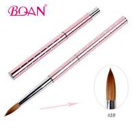 1PC Fashion Acrylic Nail Brush Metal Handle Kolinsky Hair Nail Art Brush #10