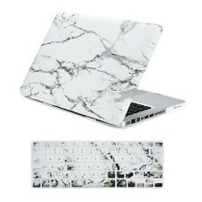 """White Marble Matte Hard Case + Keyboard Cover for Macbook Pro 13"""" Model: A1278"""