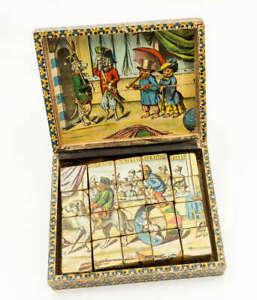Antique Lithograph Wood Block Puzzle Jigsaw blocks Circus 20 BOXED c 1890 ? RARE