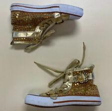 Apple Bottoms Womens Kishia SQ Gold Sequin Adjustable Buckle Sneakers Sz 7