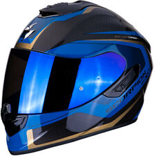 CASCO HELME MOTO INTEGRALE SCORPION EXO 1400 AIR CARBON ESPRIT BLU ORO GOLD TG M