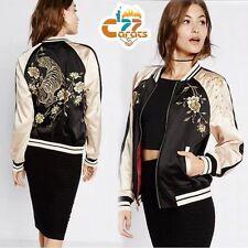 Reversible Bomber Jacket TIGER Floral Embroidered Sukajan Baseball Coat Outwear