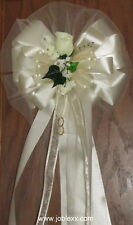 6 IVORY ROSE Satin Edge Ribbons Pew Bows for Weddings