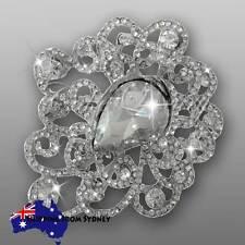 3 x Crystal Diamante Brooch Bouquet Pin / Cake Jewellery