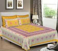 Indian treditional Pure Cotton Bed Sheet With Two Pillow Covers Set