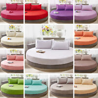 Cotton Round Fitted Coverlet Bed Sheet Bedspread Mattress Topper Solid Color