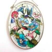 "AMIA Stained-Glass Look Morning Glory & Hummingbirds Oval Suncatcher 7"" EXC"