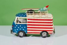 VW Bus Surf Peace 1950 Red and Blue, Stars Handmade Metal Tin Model for Decor