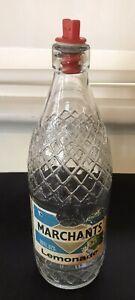Vintage Marchants Drinks Glass Bottle With Internal  Screw Stopper