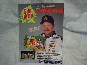 1994 DALE EARNHARDT THE IMTIMIDATOR SUN DROP SODA AD PRINT,nascar racing,pop