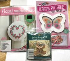 New listing Floral Sachet/ Butterflies Counted Cross Stitch Kits /Bertha Bear Glass Bead Kit