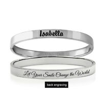Personalized Stainless Steel Clasp Bracelet For Her Custom Any Name Engraving