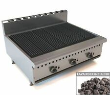 More details for commercial gas char broiler 3 burner chargrill natural gas lava rock bbq