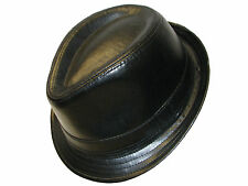 New Black PU Leather Trilby Hat