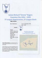 Jimmy Rogers Coventry City 1956-1959 Raro Original Corte/tarjeta firmada a mano