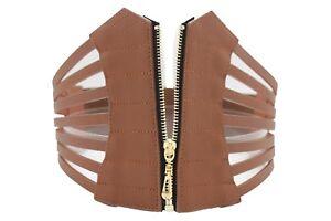 Women Wide Corset Belt Waist Hip Brown Elastic Faux Leather Plus Size L XL XXL