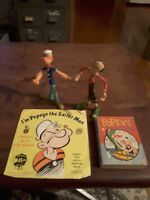 VINTAGE popeye toy figurines, book & record c1978 - king features syndicate