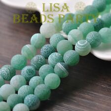 30pcs 8mm Round Natural Stone Loose GEMSTONE Beads LT Green Efflorescent Agate