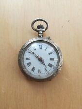 antique silver pocket cylinder 10 rubis watch