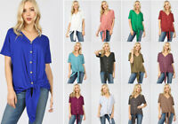 S-3X Women's Button & Tie Front Soft Knit Top Loose Short Sleeve V-Neck Solid
