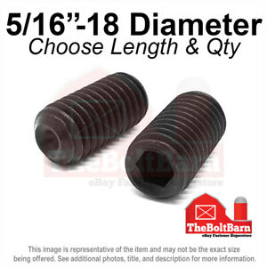 "5/16""-18 Alloy Cup Point Allen Socket Set Screw Coarse Black Oxide (Pick Size)"