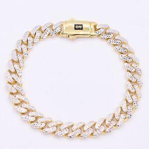 9mm Miami Cuban Diamond Cut Monaco Bracelet Real 14K Yellow White Gold