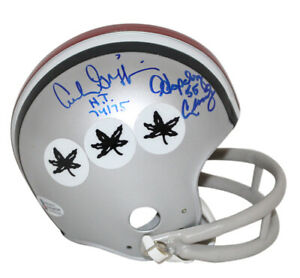 Archie Griffin & Hopalong Cassady Signed Ohio State 2 Bar Mini Helmet BAS 33557