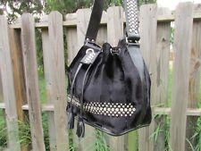 Raviani Black Faux Fur Leather Trim Drawstring Crystals Bucket Tote  Shoulder Bag c65230a4f5ca8