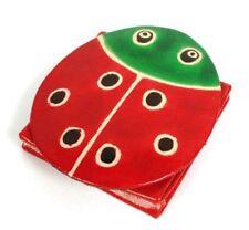Children`s Leather Coin Purse Red Ladybird Shape Press Stud Closure Handmade