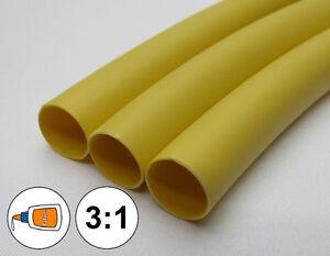 "(1 FOOT) 1/2"" Yellow Heat Shrink Tube 3:1 Dual Wall Adhesive Glue Marine/to 0.5"""