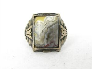 Antique Sterling Silver Natural Agate Mens Band Ring 6.5g B36