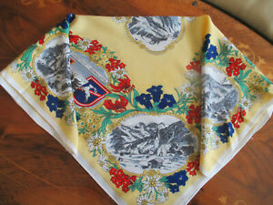 Austrian Souvenir SCARF OR KERCHIEF illustrated with Austrian scenes, flowers