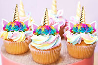 24 STAND UP MINI UNICORN GOLD HORN EARS RAINBOW EDIBLE CUPCAKE IMAGES TOPPERS