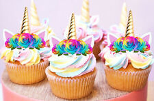 24 STAND UP GOLD UNICORN GOLD HORN EARS RAINBOW EDIBLE CUPCAKE IMAGES TOPPERS