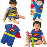 Superman Batman Baby Boy Costume Fancy Dress Babygrow Kids Boys Outfit 0-24Month