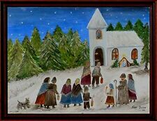 Kirchgang  Földi Zsuzsa,  Naive Malerei  / rumänischer/Bulgarischer Maler xxxxxx
