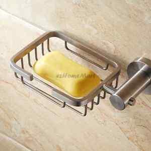 Solid Brushed Bathroom Soap Basket Stainless Steel Wall Mount Soap Dish Holder