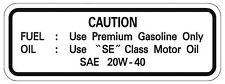 Yamaha XT500'80 Service Hinweis Tank Aufkleber Öl Benzin FUEL OIL Decal