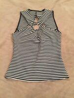 Women's Black & White Striped Jersey Top Size Small