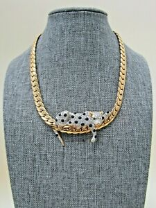 Gold Plated Crystal Pave Resting Leopard Pendant Herringbone Necklace