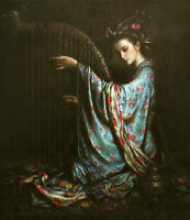 ZWPT224 100% hand-painted chinese flying playing piano oil painting on canvas