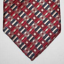 NEW Nordstrom Silk Neck Tie Red Burgundy with Dark Blue and Beige Pattern 699