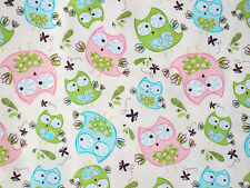 HOOT HOOT OWL / OWLS CREAM  EMMA & MILA QUILTING  100% COTTON FABRIC  YARDAGE