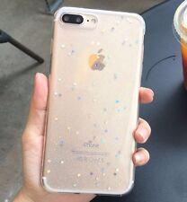 For iPhone 7+ Plus - HARD TPU RUBBER GUMMY GEL CASE COVER CLEAR GLITTER STARS