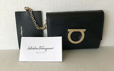 Salvatore Ferragamo Gancini Wallet ID Case Bifold Black Gold Fold over